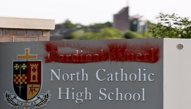 Sign At High School Named For Cardinal Wuerl Is Vandalized
