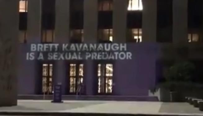 Brett Kavanaugh Gets The Projector Protest Treatment