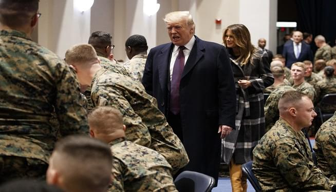 Trump Visits Marines, Talks at Veterans' Event