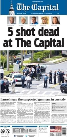 Front page of today's Annapolis newspaper