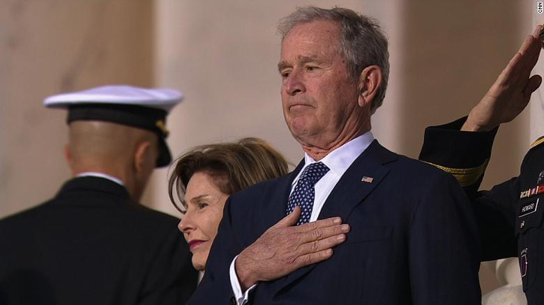 Former President George H. W. Bush's casket arrives at the U.S. Capitol