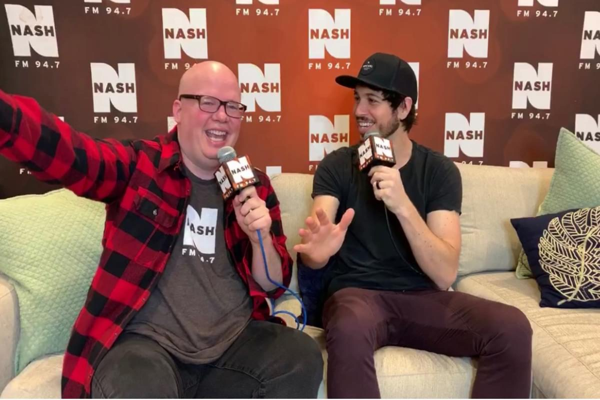 Morgan Evans backstage with Jesse Addy at NASH Holiday Bash