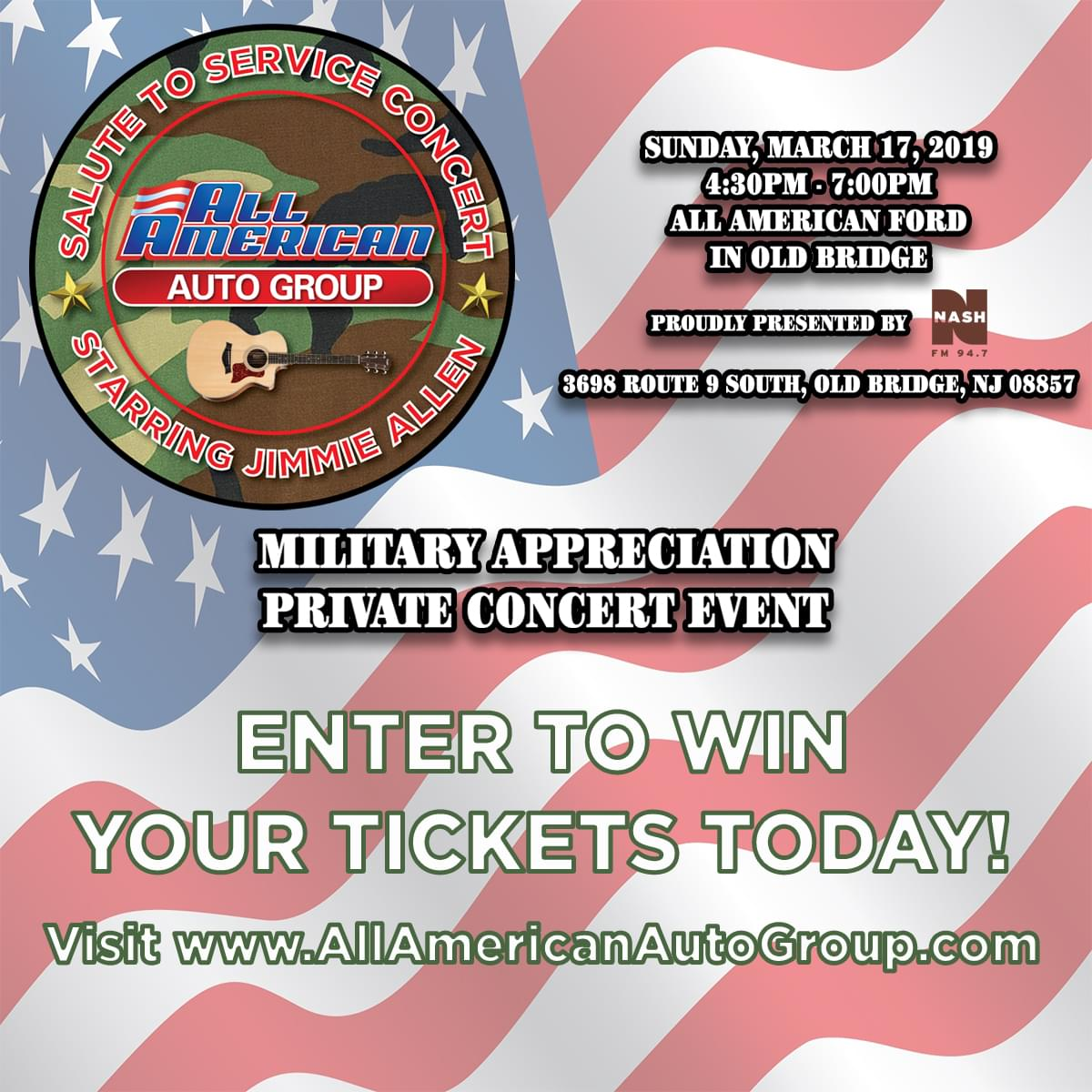 NASH FM 94.7 Presents The All American Group Military Appreciation Private Concert featuring Jimmie Allen
