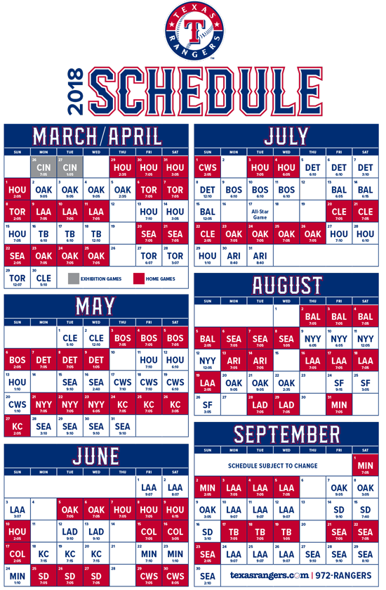 picture relating to Rangers Printable Schedule referred to as The CJ Nitkowski Display upon Negative Radio KTCK-AM