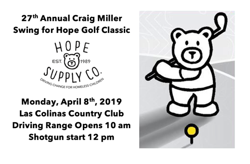 The 27th annual Craig Miller Swing for Hope Charity Golf Classic will be Monday, April 8th, 2019 at the Las Colinas Country Club