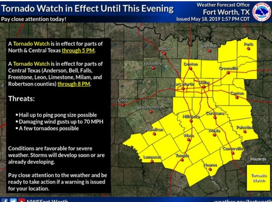 The National Weather Service Issues Weather Warnings for North Texas Through Early Evening