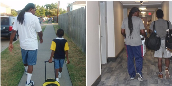 Photo of Plano Dad Walking Son to Kindergarten vs College goes Viral