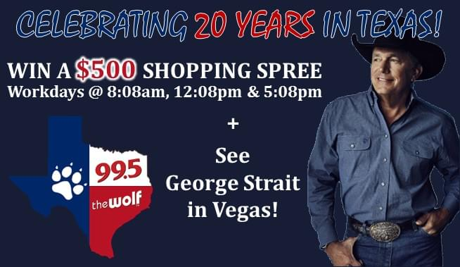 99.5 The Wolf Celebrates 20 Years in Texas with 20 Days of Winning!