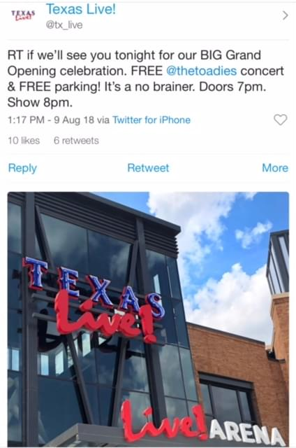 The New Texas Live! Opens Tonight In Arlington!