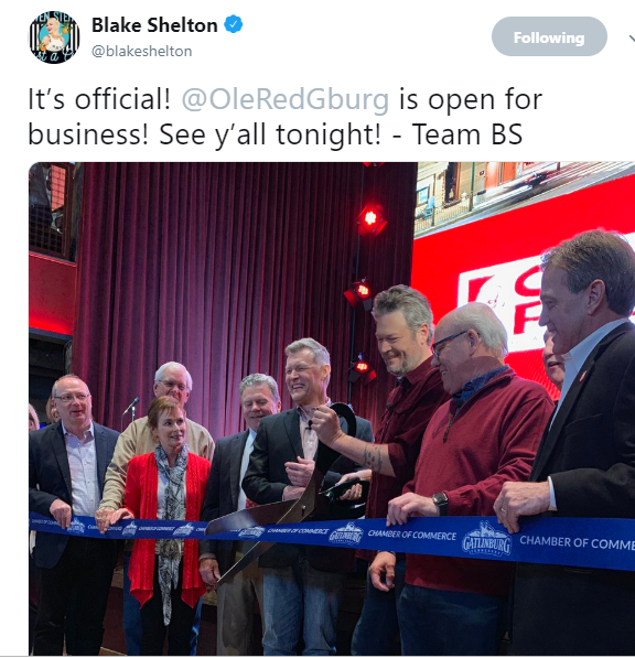 Blake opens his 3rd Ole Red Nightclub in Gatlinburg, TN!