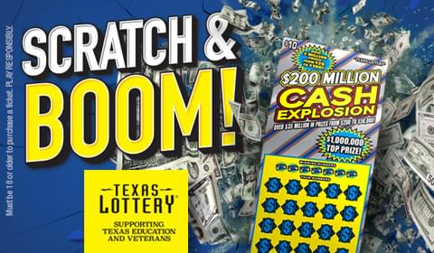 Win $200 Million Cash Explosion Scratch Tickets from the Texas Lottery