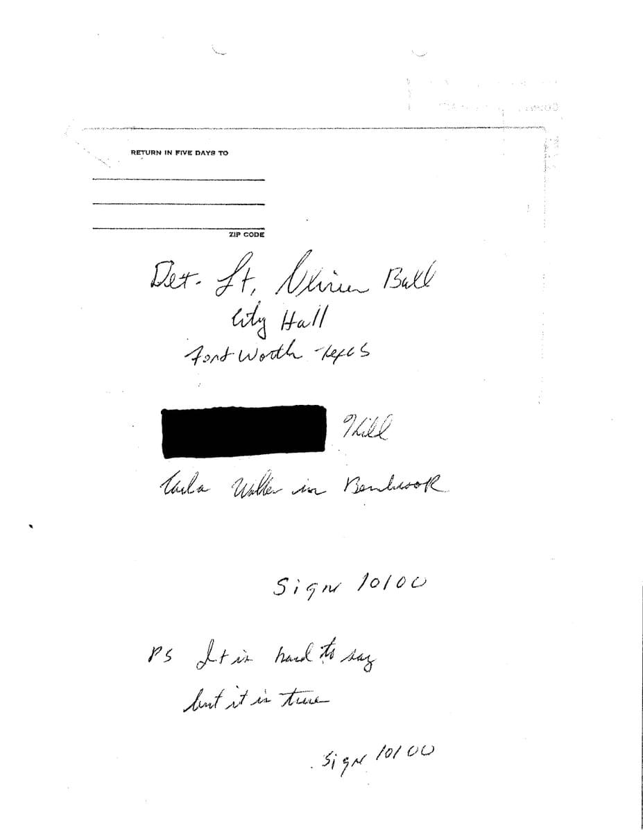 Fort Worth Police Release Decades-Old Letter to Help Solve Carla Walker Murder