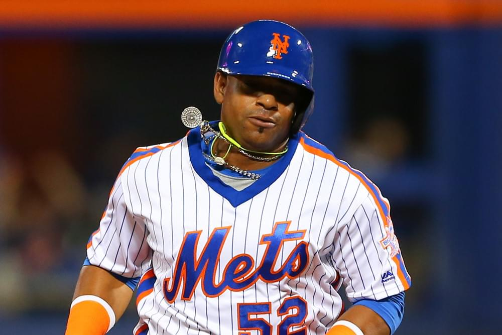 Cespedes necklace breaks in Mets loss to Braves leading to diamonds falling onto the baseball