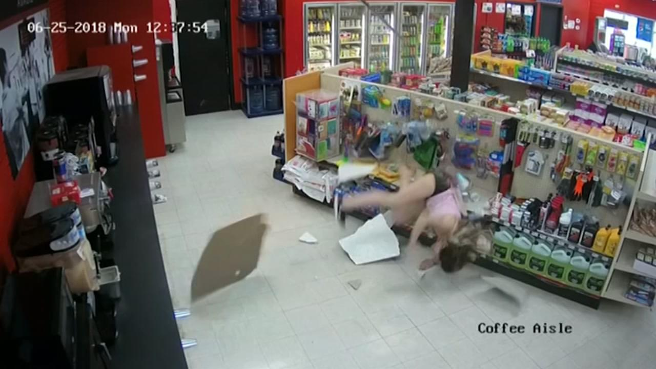 Woman falls through the ceiling of a convenience store!!!!