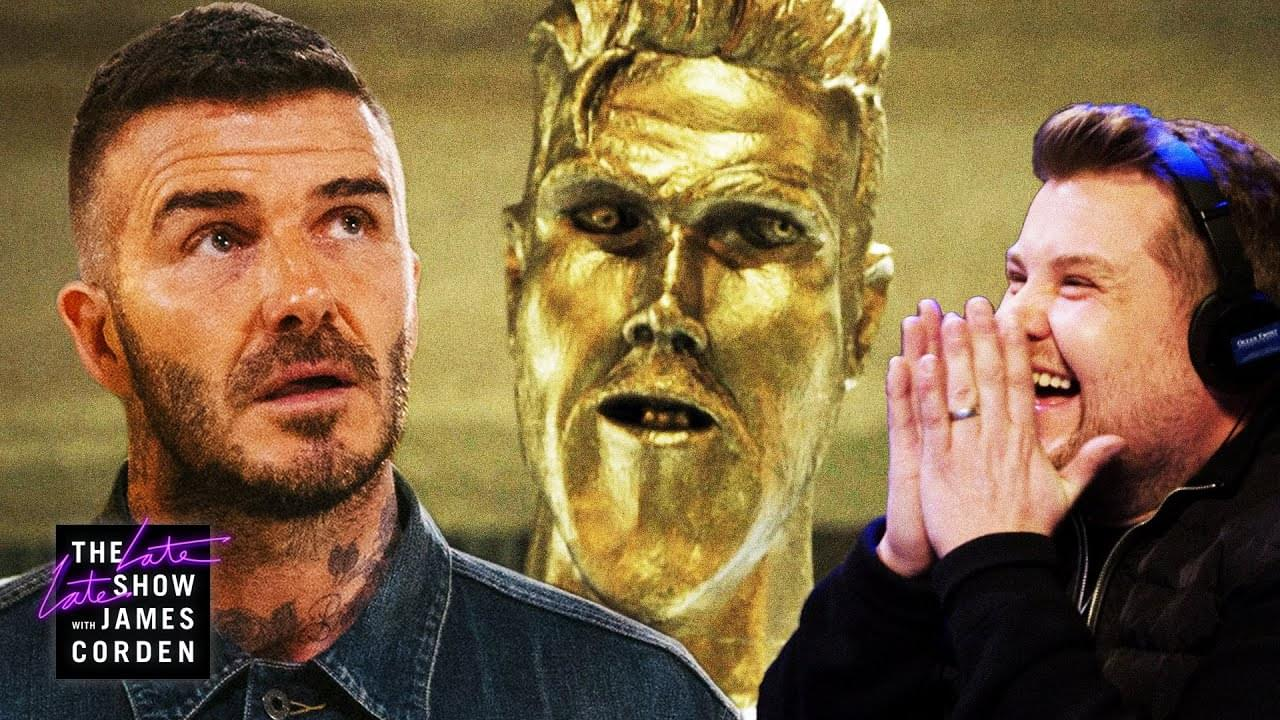 James Corden Just Pulled The Best Prank On David Beckham Involving A Statue