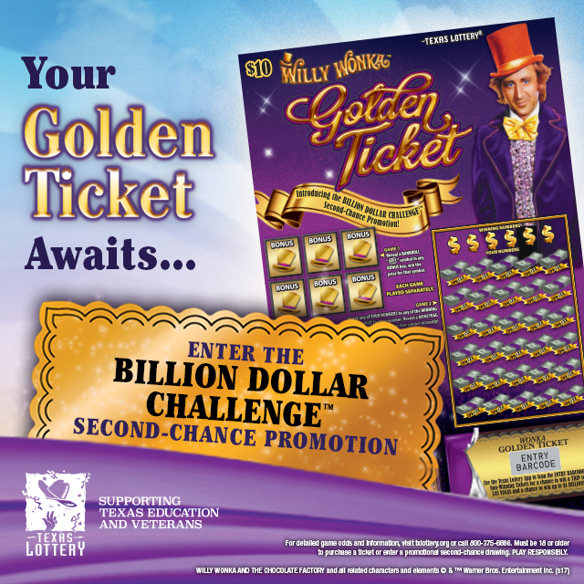 Willie Wonka Golden Ticket from the Texas Lottery | KTCX-FM