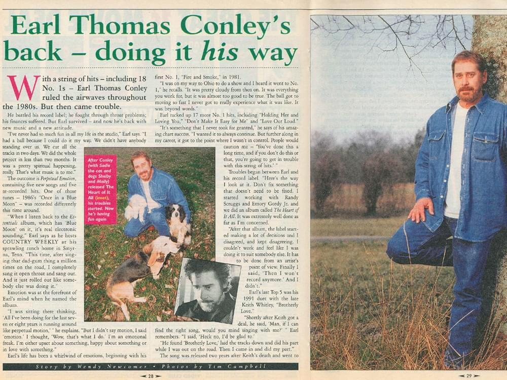 """Earl Thomas Conley's 1998 Interview in """"Country Weekly"""" Magazine: """"Life Is a Spiritual Experience, Music Is the Heart of That"""""""