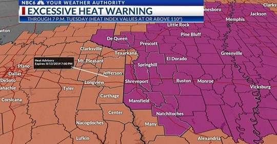 Excessive Heat Warnings In Effect Today (Tuesday August 13th)