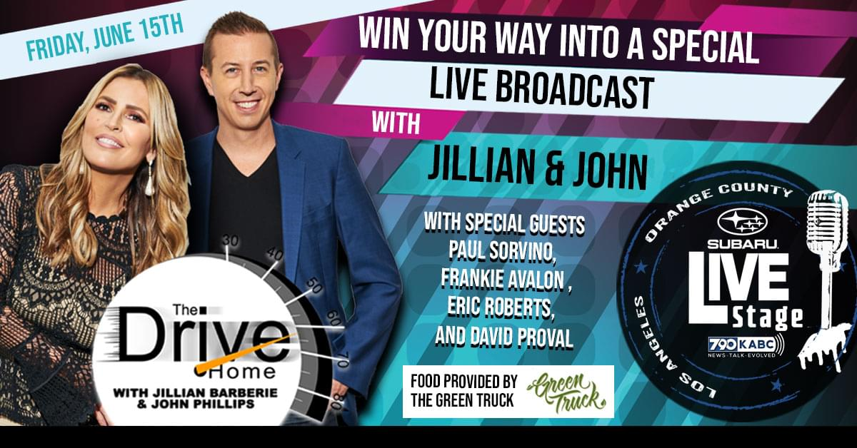WIN ACCESS TO THE DRIVE HOME LIVE BROADCAST WITH JILLIAN BARBERIE AND JOHN PHILLIPS