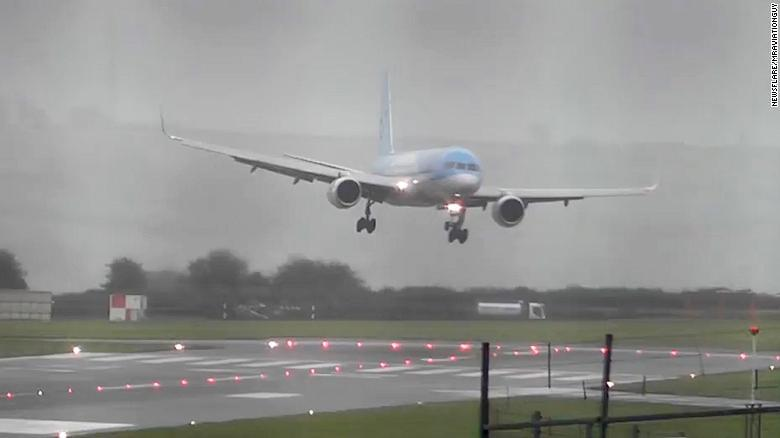 Plane Appears to Land Sideways in Heavy Wind