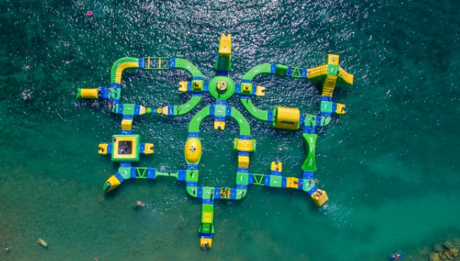 A floating water park will open in Lake Michigan this summer