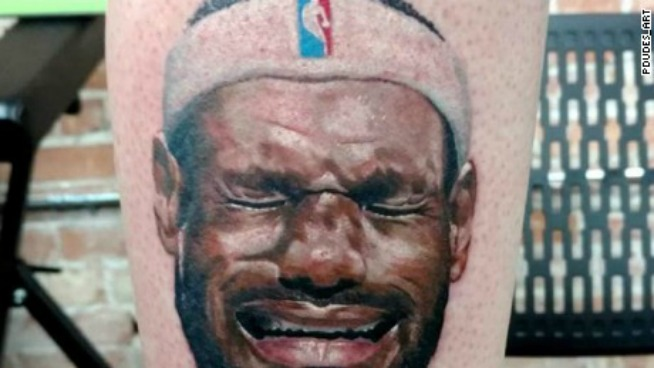 Michael Jordan fan gets crying LeBron James tattoo