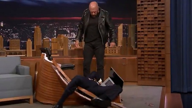 TRIPLE H BODYSLAMS JIMMY FALLON THROUGH A TABLE!