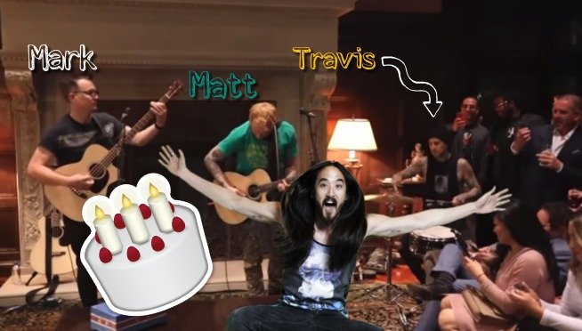 WATCH: Blink 182 – What's My Age Again (Acoustic) Live at Steve Aoki's Birthday Party