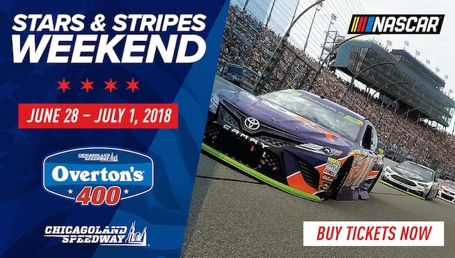 Win tickets to all three days of NASCAR at Chicagoland Speedway!