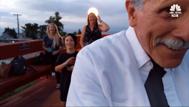 Grandpa tried to film a wedding proposal but had the phone on selfie mode
