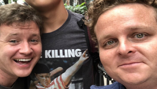 """Guy meets actors from """"The Sandlot"""" t-shirt he's wearing….and doesn't even realize it."""