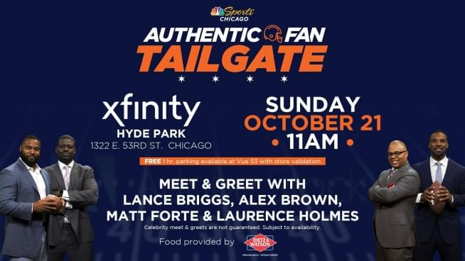 102118 xfinity store meet greet with lance briggs alex brown join brian and the 101wkqx promotions team on sunday october 21st at the xfinity hyde park location at 1322 e 53rd st from 1130am to 130pm along with m4hsunfo