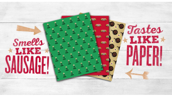 JIMMY DEAN COOKED UP SAUSAGE-SCENTED WRAPPING PAPER FOR CHRISTMAS
