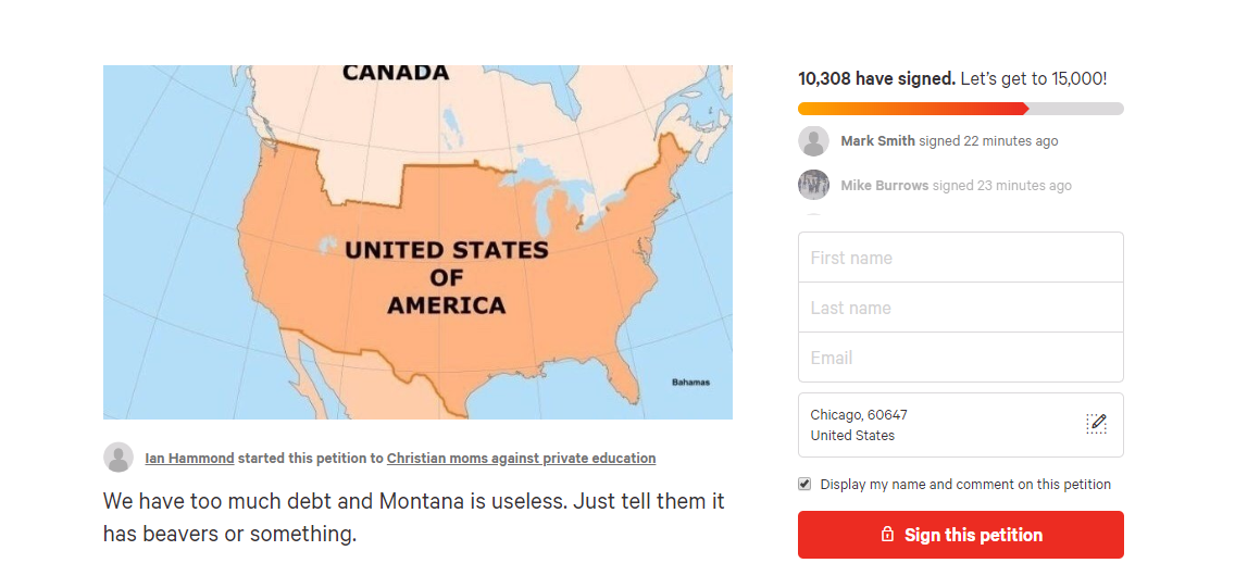 Online petition calls for U.S. to sell Montana to Canada
