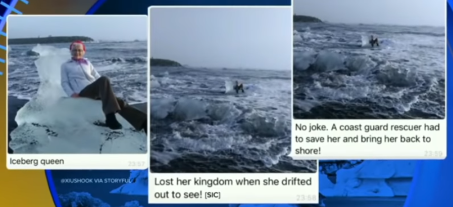 Grandma swept out to sea while posing for photo on 'Iceberg Throne'