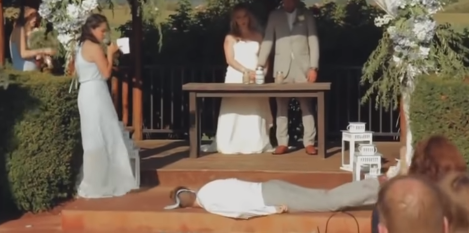 VIDEO: Best man face plants