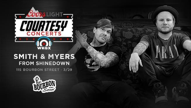 3/28/19 – Meet Kevin and pick up guaranteed entry tickets to see Smith and Myers of Shinedown!