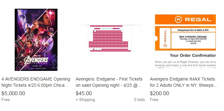 """Avengers: Endgame"" tickets are on eBay for over $100"