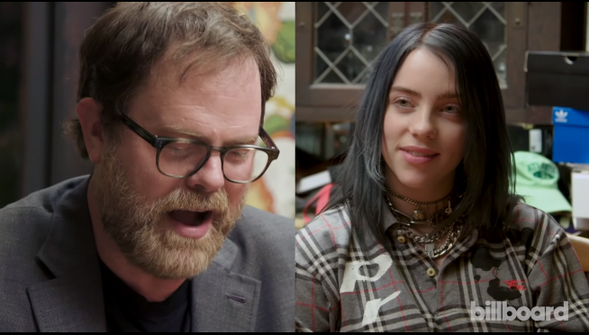 "Billie Eilish accepts ""The Office"" trivia challenge — from Rainn Wilson."