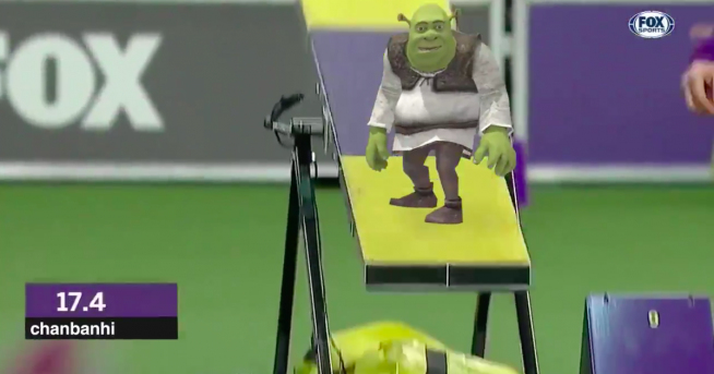 Watch Shrek run though a dog obstacle course