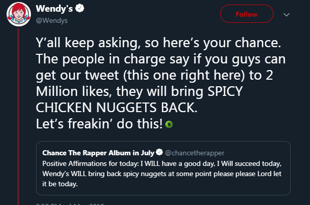 We have Chance The Rapper to thank for Wendy's bringing back spicy chicken nuggets