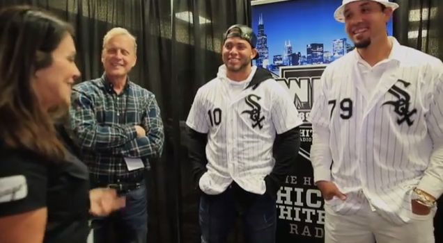 Jose Abreu and Yoan Mocanda at SoxFest 2017