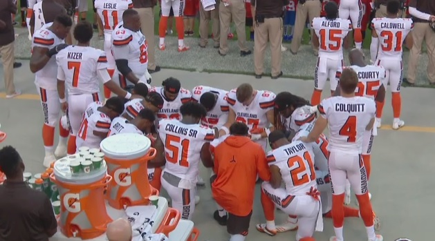 A Dozen Cleveland Browns Players Kneel During The National Anthem ... 43b8f5871