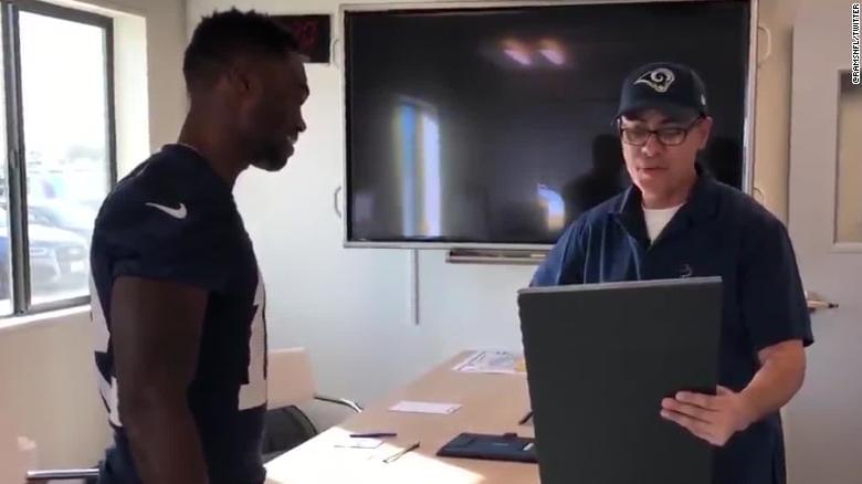 See Rams player surprise janitor with Super Bowl tickets