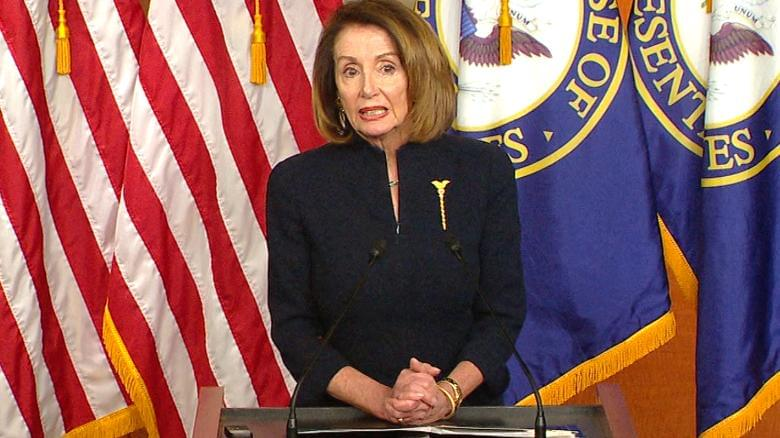 Nancy Pelosi reacts to national emergency news