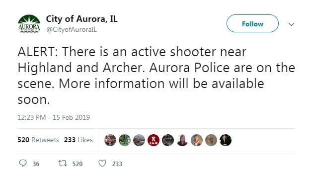 Reports: Active shooter situation in Aurora, Illinois