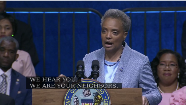 Lori Lightfoot inaugurated Chicago's first African-American woman and gay mayor