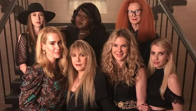 Stevie Nicks poses for American Horror Story: Apocalypse cast photo