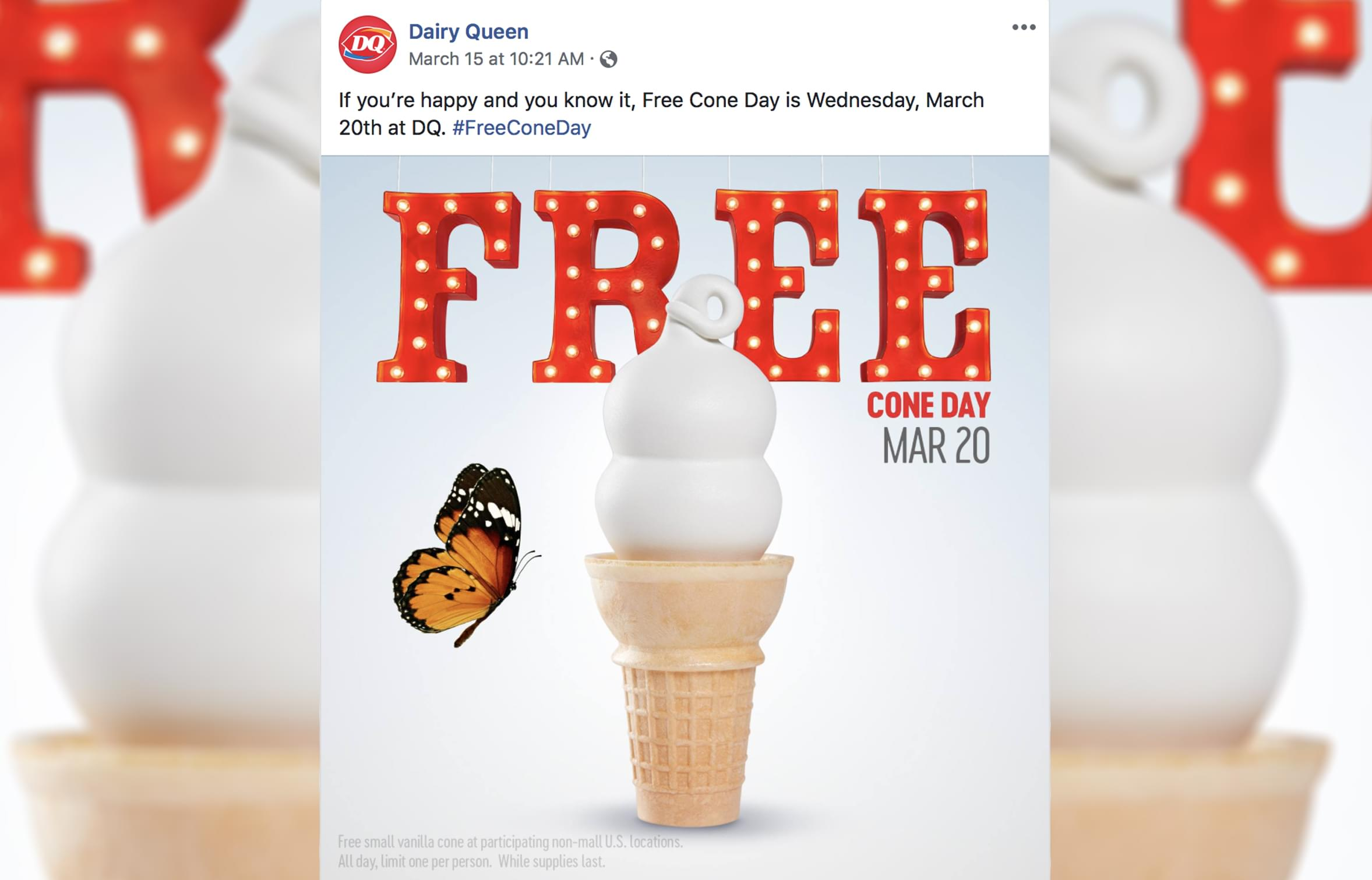 Dairy Queen will be giving away free cones on Wednesday (March 20th)