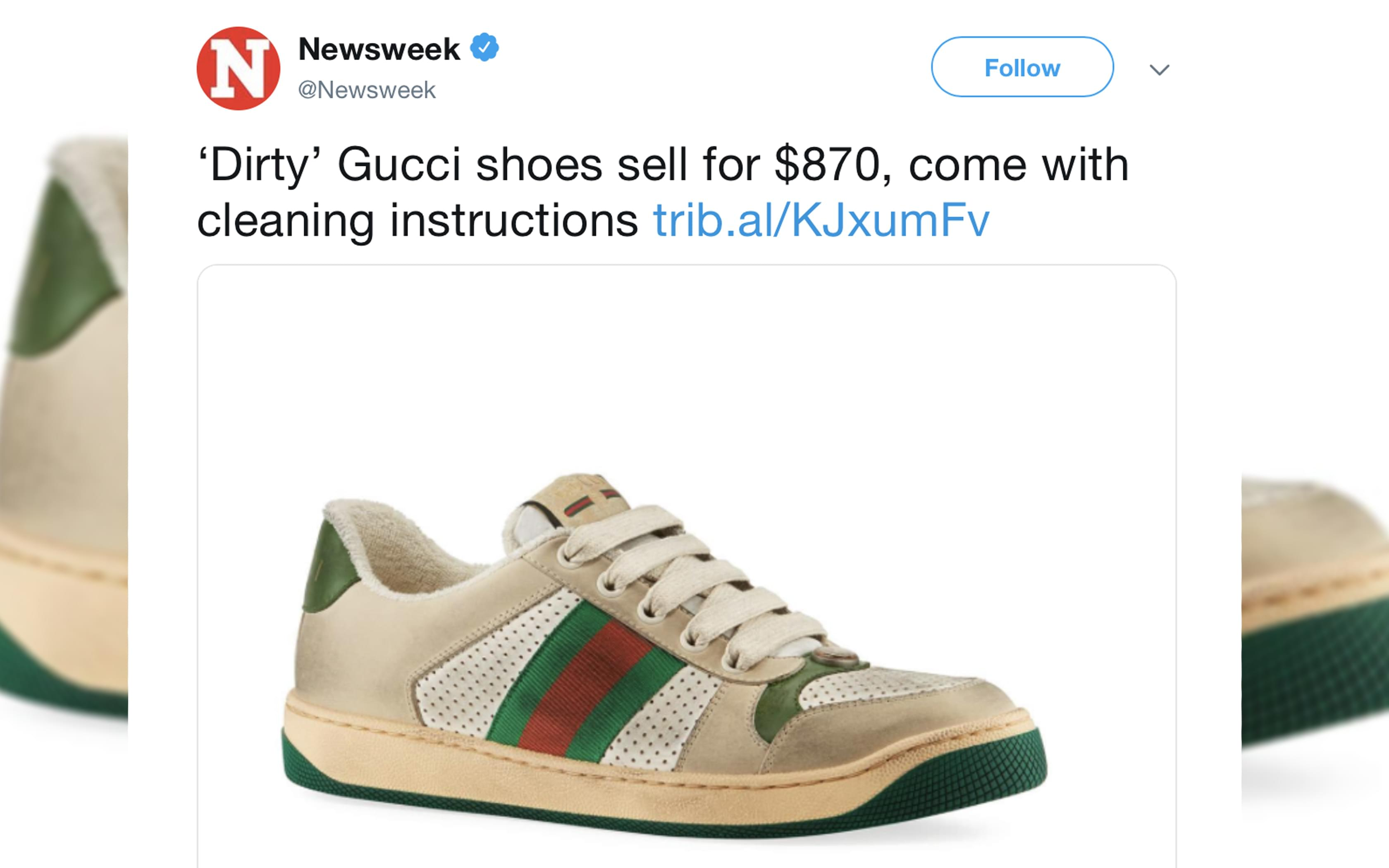 Gucci Is selling $870 sneakers that are designed to look old and dirty